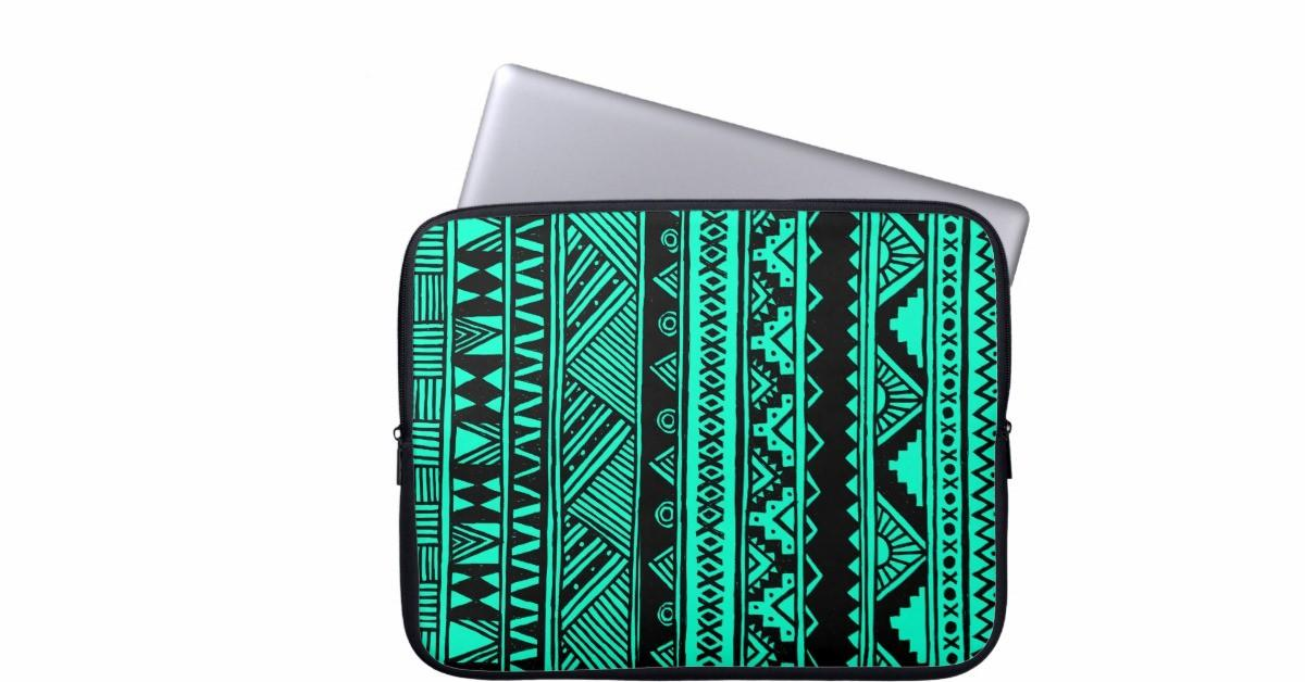 Turquoise Black Aztec Geometric Tribal Pattern Computer