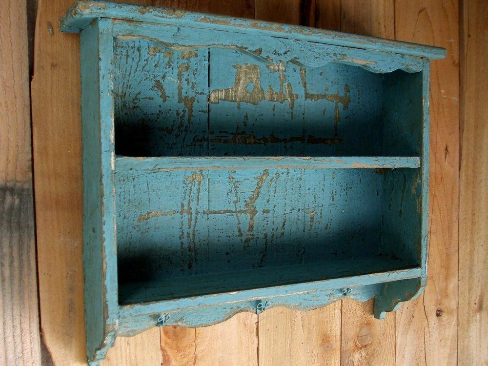 Turquoise Blue Vintage Shabby Chic Distressed Handmade