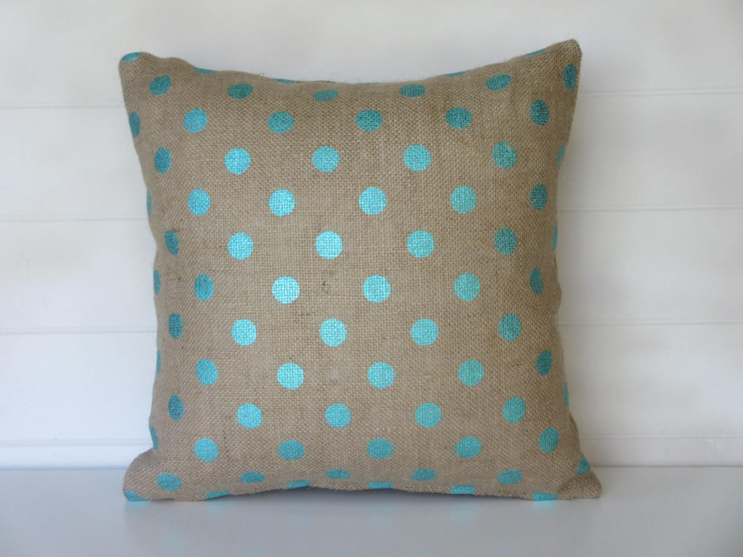 Turquoise Dot Burlap Pillow Cover Spring Pillows