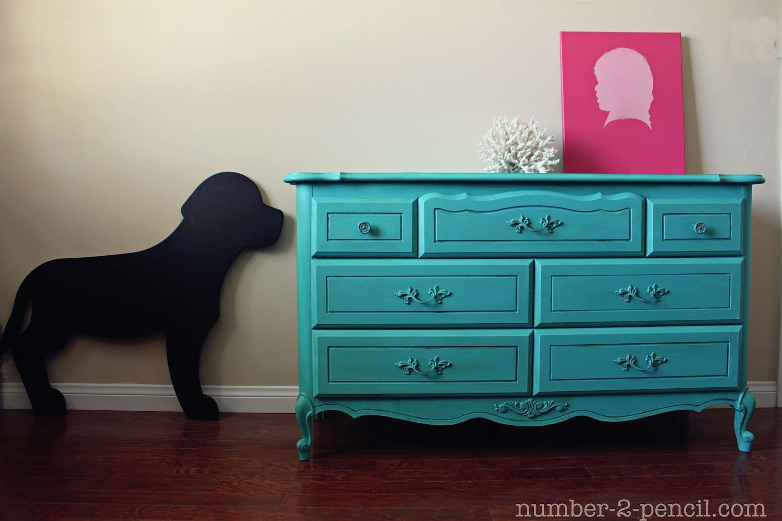 Turquoise Dresser Makeover Chalk Paint Pencil