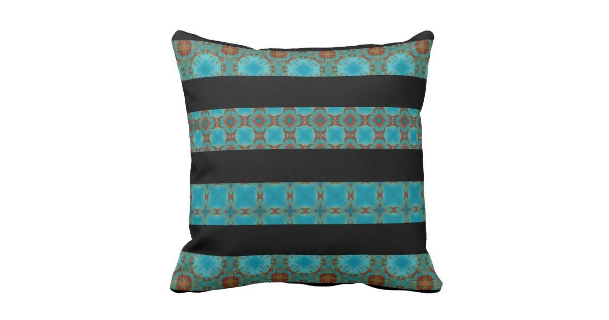 Turquoise Kaleidoscope Black Striped Pillow Zazzle