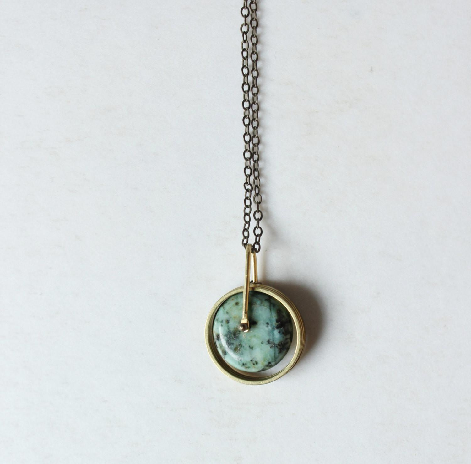 Turquoise Necklace Gold Pendant Modern