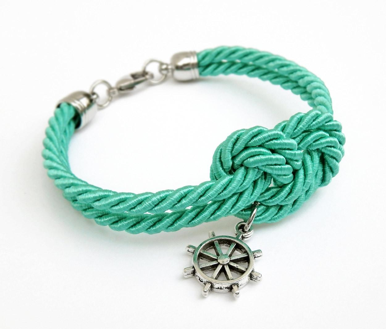 Turquoise Rope Knot Bracelet Silver Ship Wheel Charm