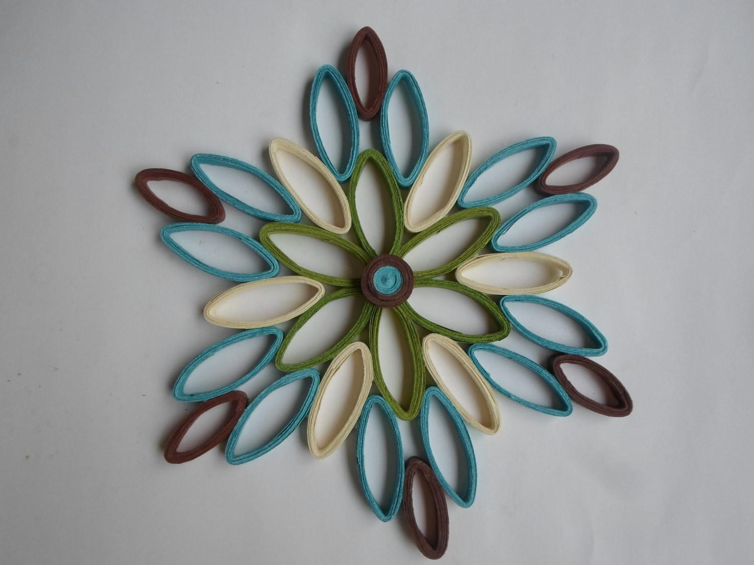 Turquoise Wall Hanging Modern Decor Paper Art