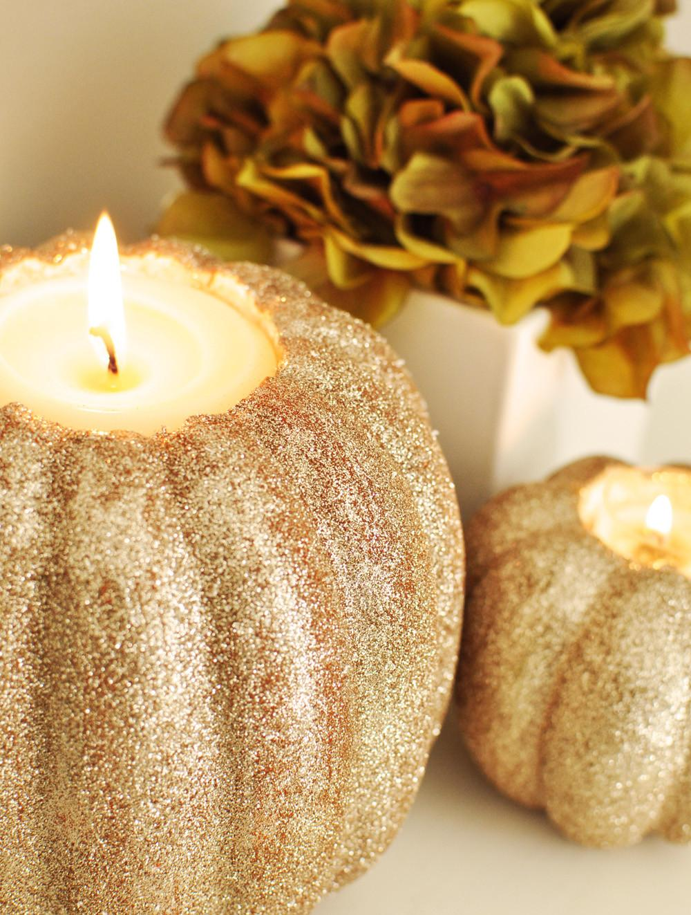 Twig Thistle Diy Pumpkin Candle Holders Bhg