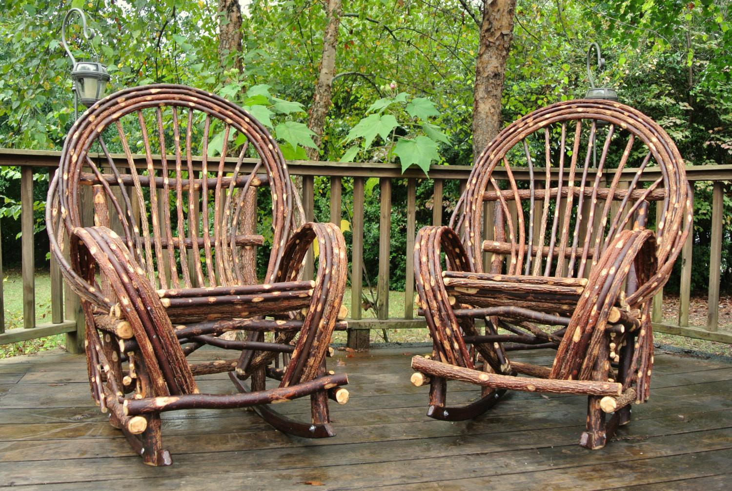 Twig Willow Rocking Chair Set Rustic Bentwood Rockers