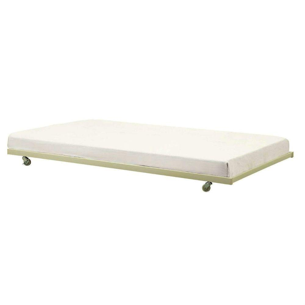 Twin White Metal Trundle Bed Casters Wheels