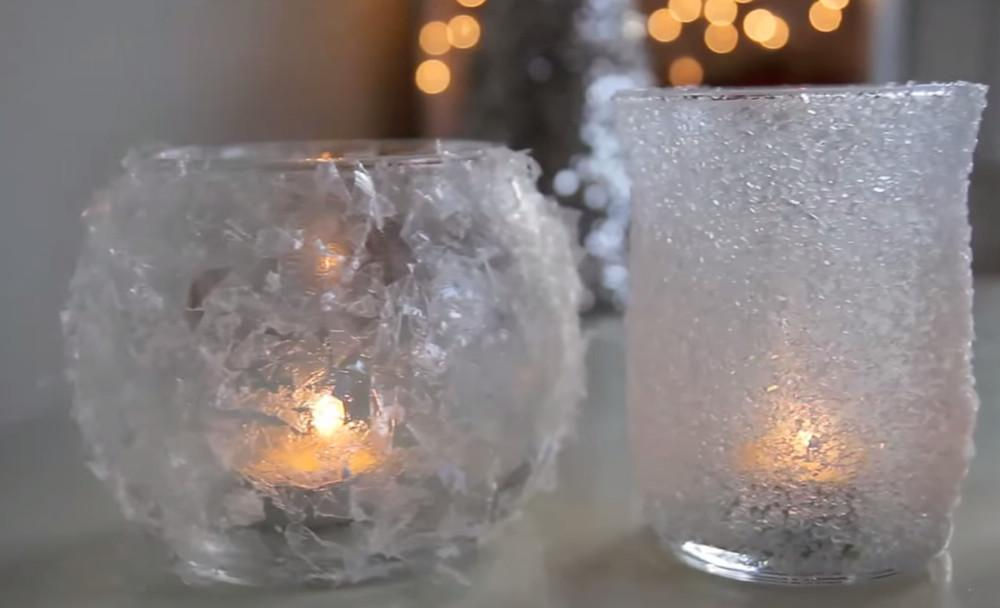 Two Easy Diy Ways Make Frosted Christmas Candle Votives