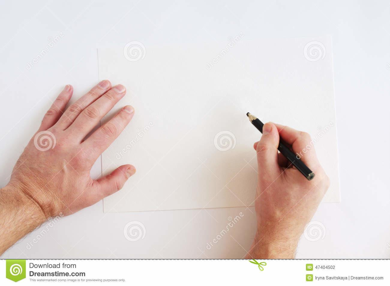 Two Male Hands Above Over Clean Sheet Paper