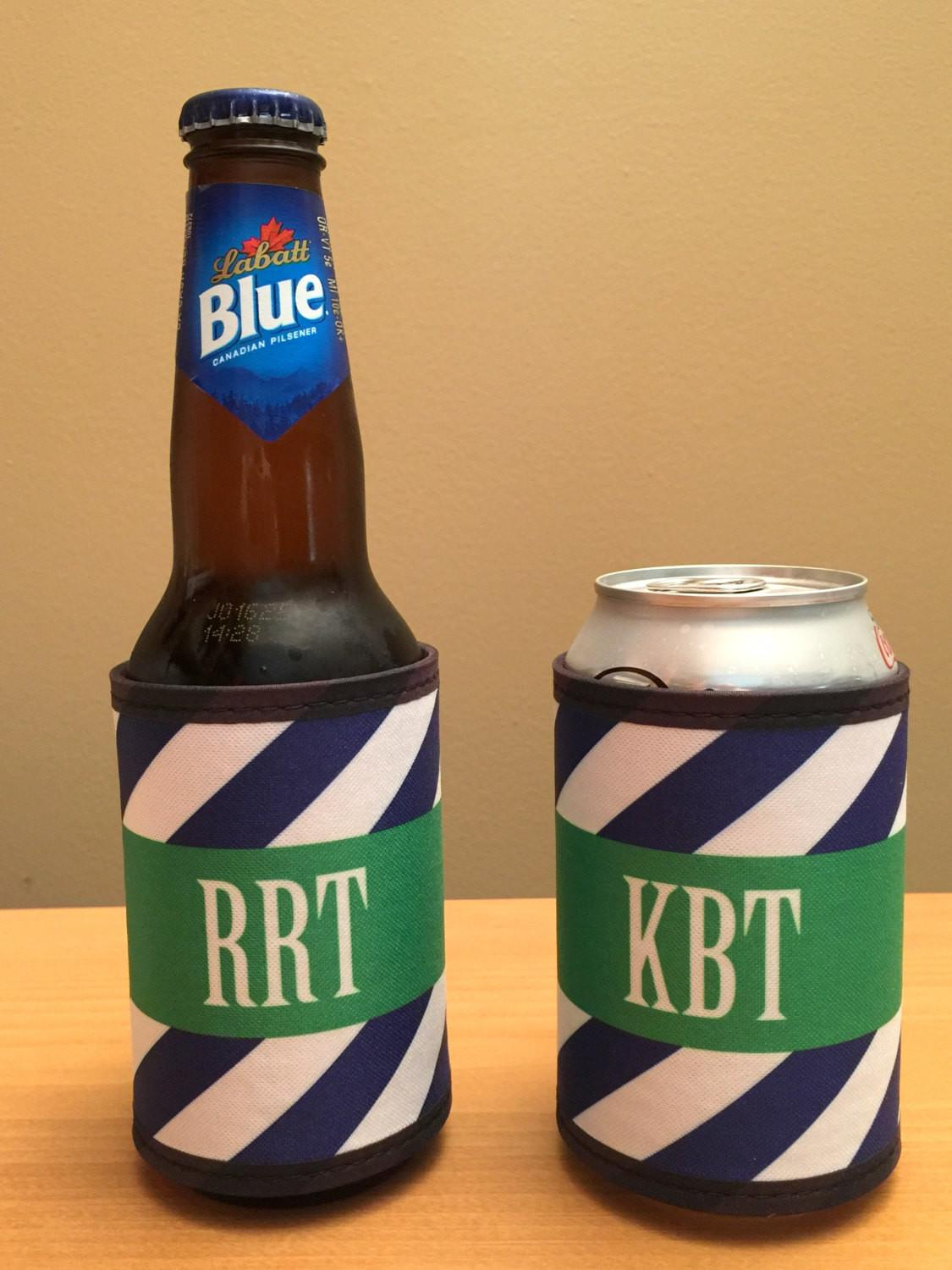 Two Monogrammed Wrap Can Holders Personalized Bottle