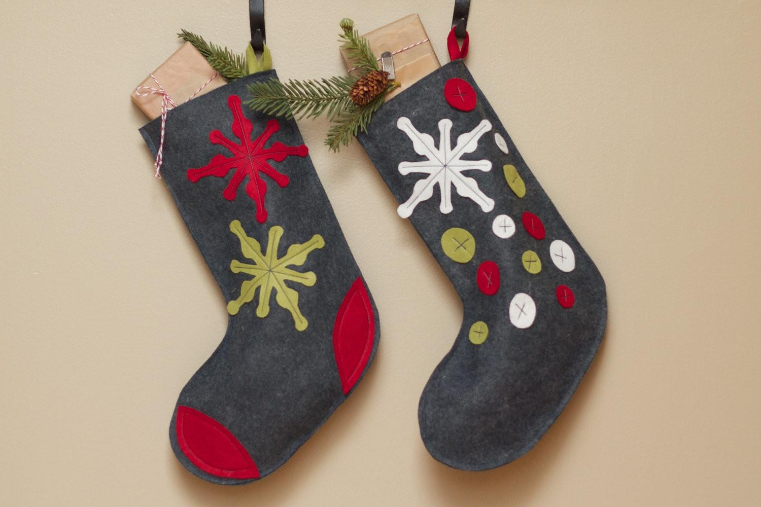 Two Red Olive Green Modern Christmas Felt Stockings