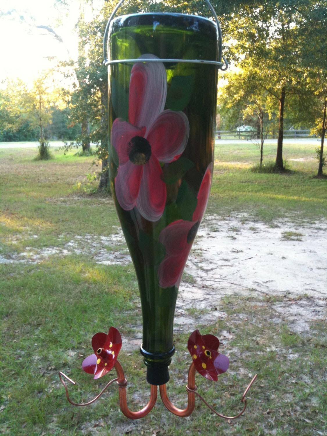 Two Station Recycled Wine Bottle Hummingbird Feeder