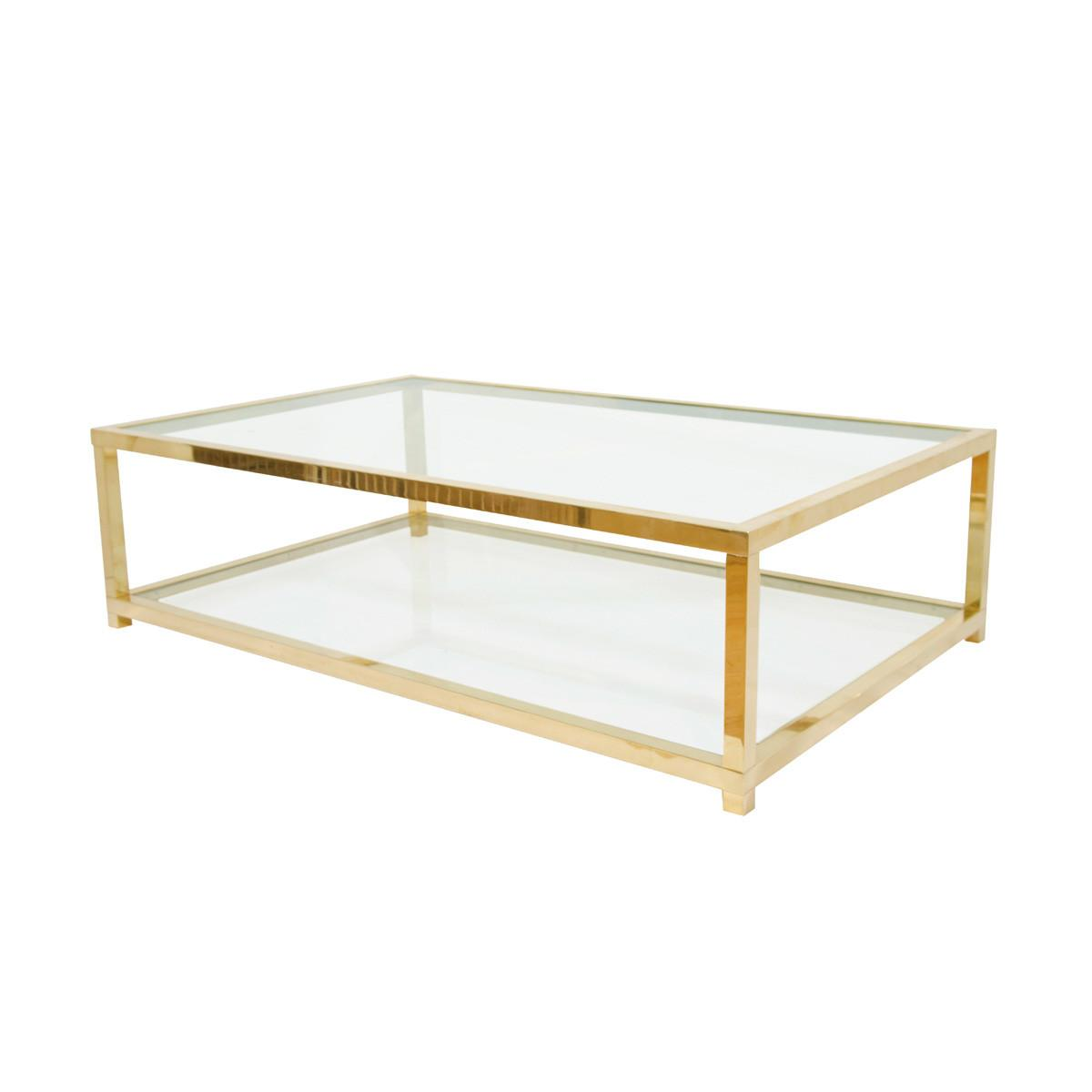 Two Tiered Brass Glass Coffee Table Tables