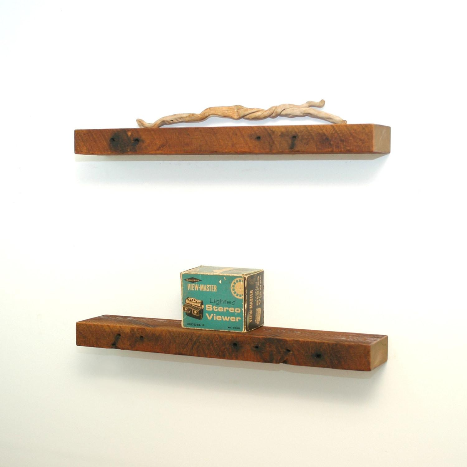 Two Tiers Reclaimed Wood Floating Shelves Decofurnish