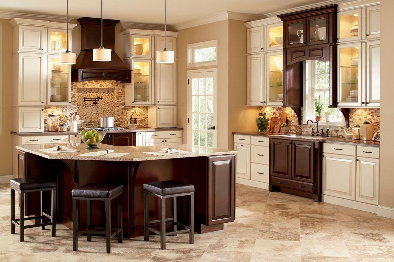 Two Tone Kitchen Cabinets Brown White Ideas