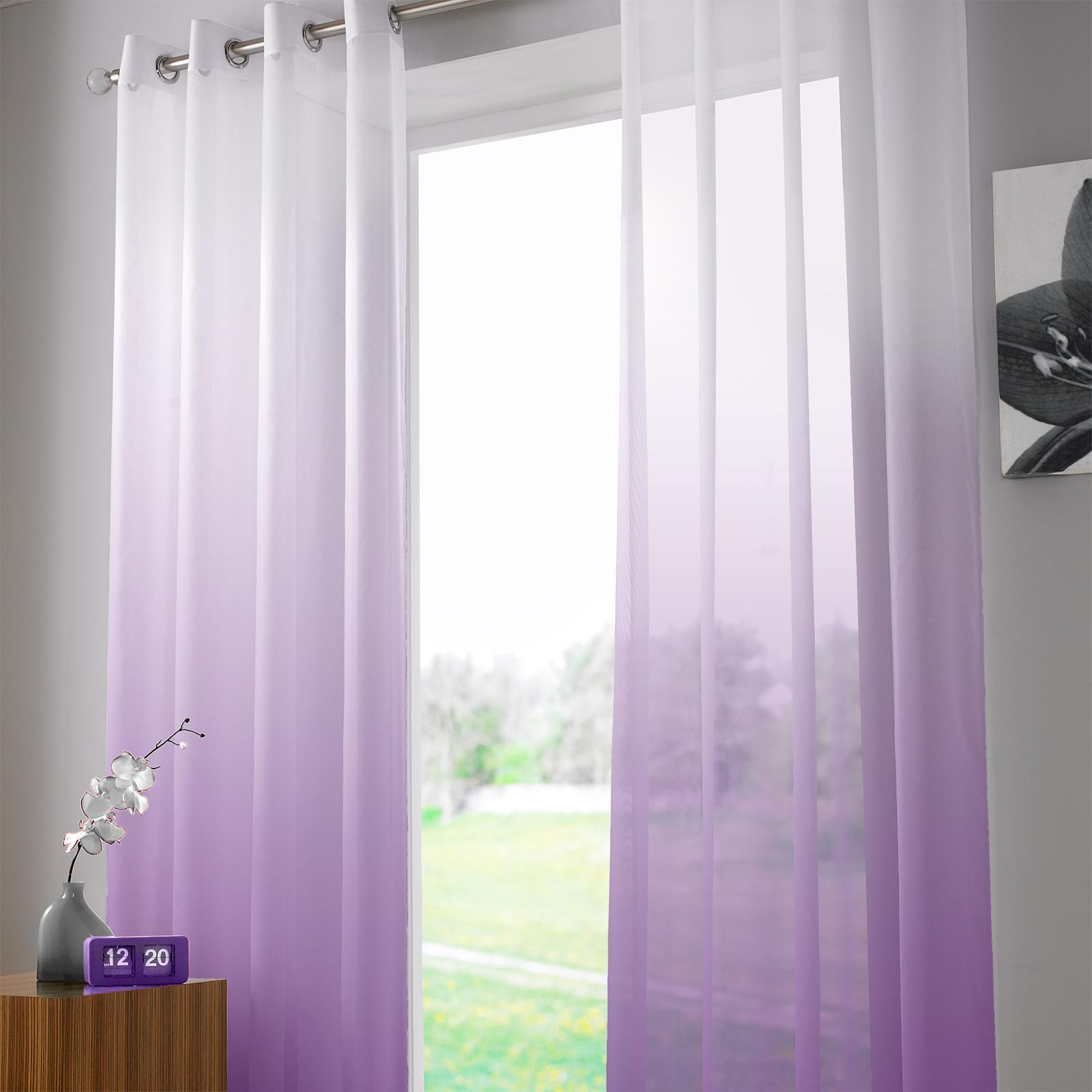 Two Tone Ombre Ring Top Sheer Voile Curtain Panel