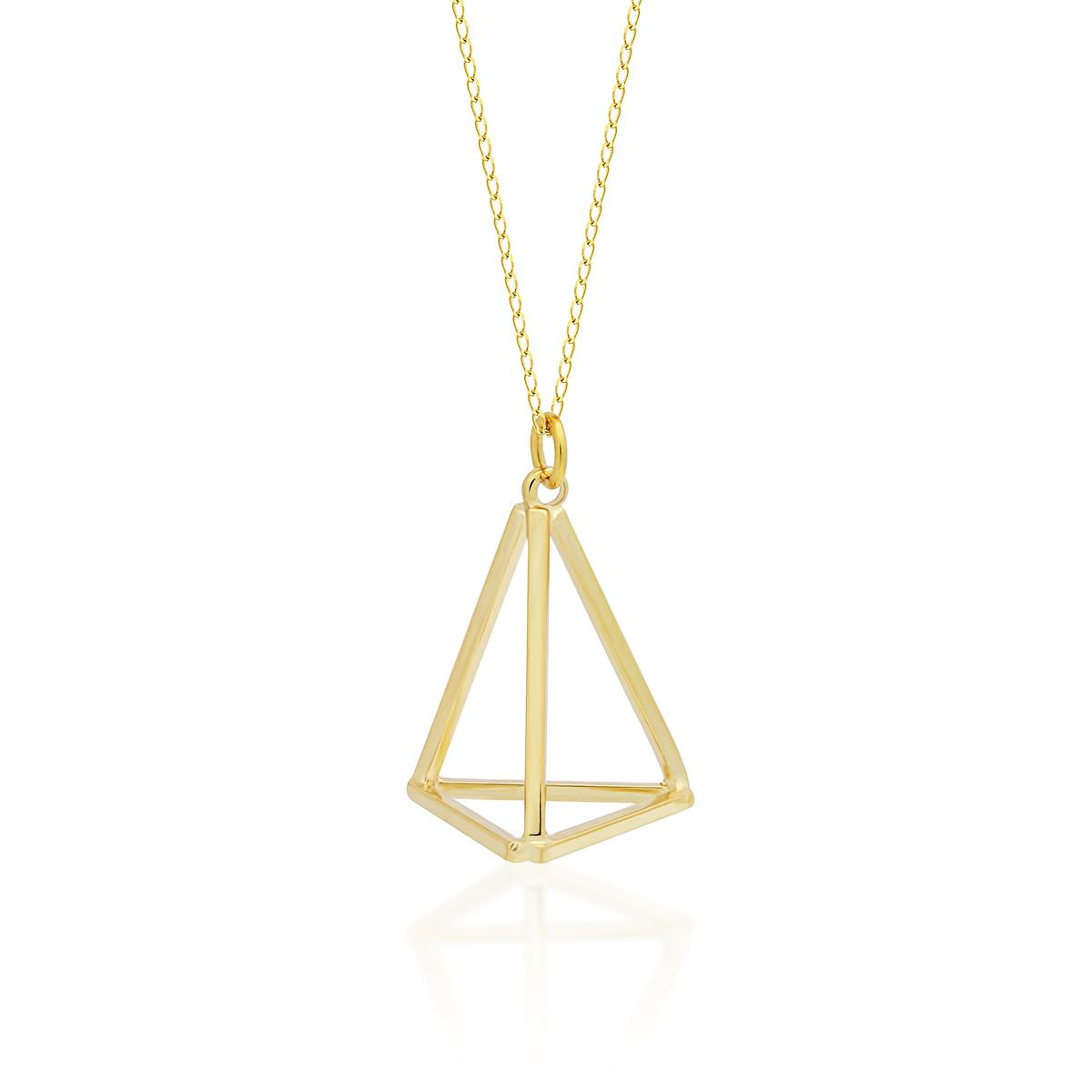 Tzaro Jewelry Gold Triangle Necklace 14k Fill