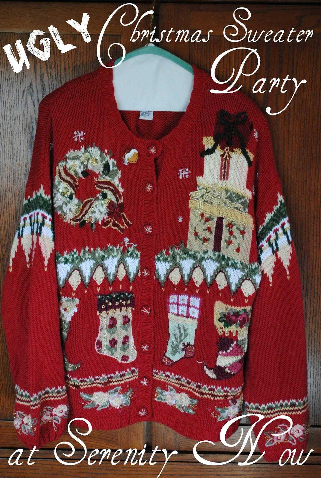 Ugly Christmas Sweater Party Gray Cardigan