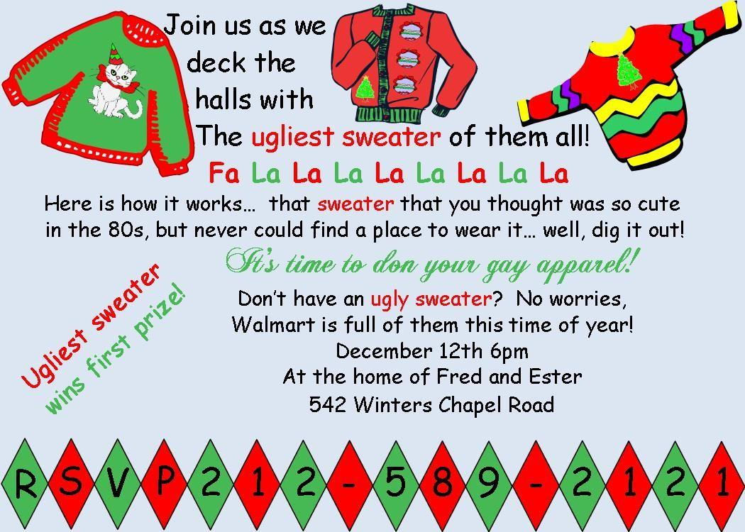 Ugly Sweater Christmas Party Invitations Theruntime