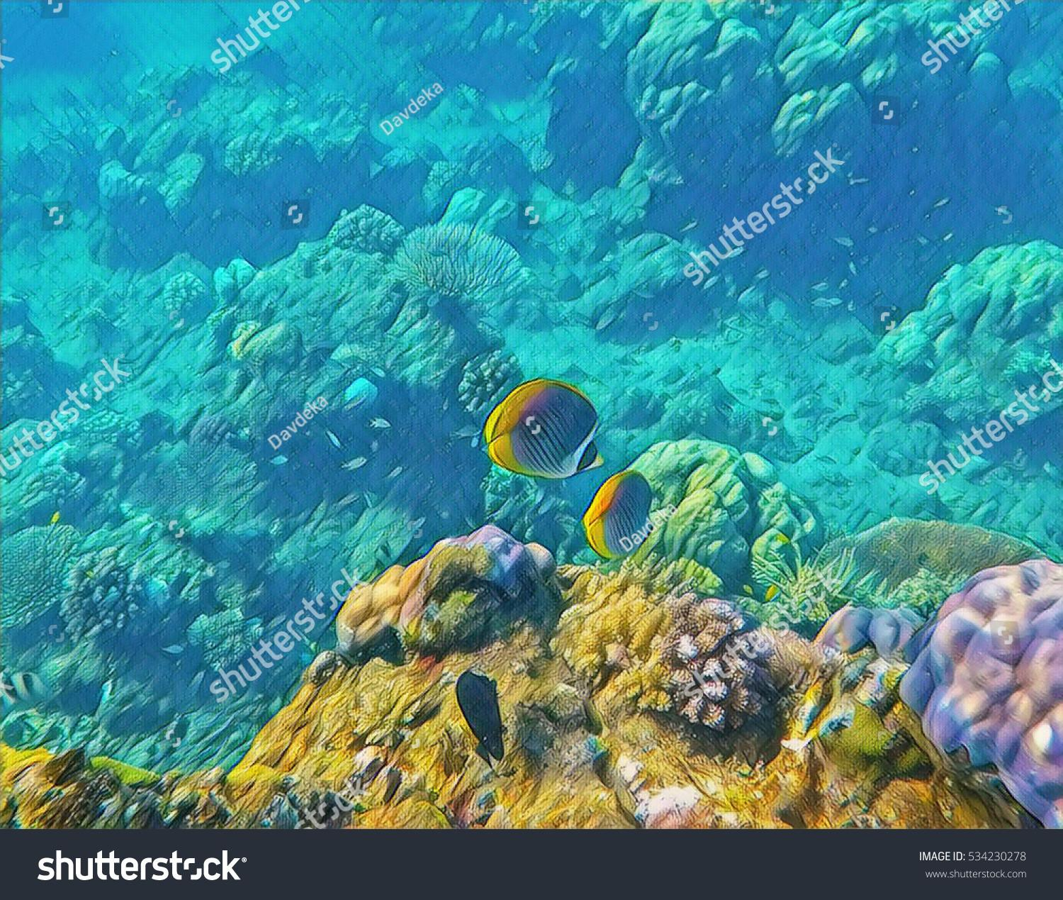 Underwater Landscape Tropical Fish Yellow Coral Stock