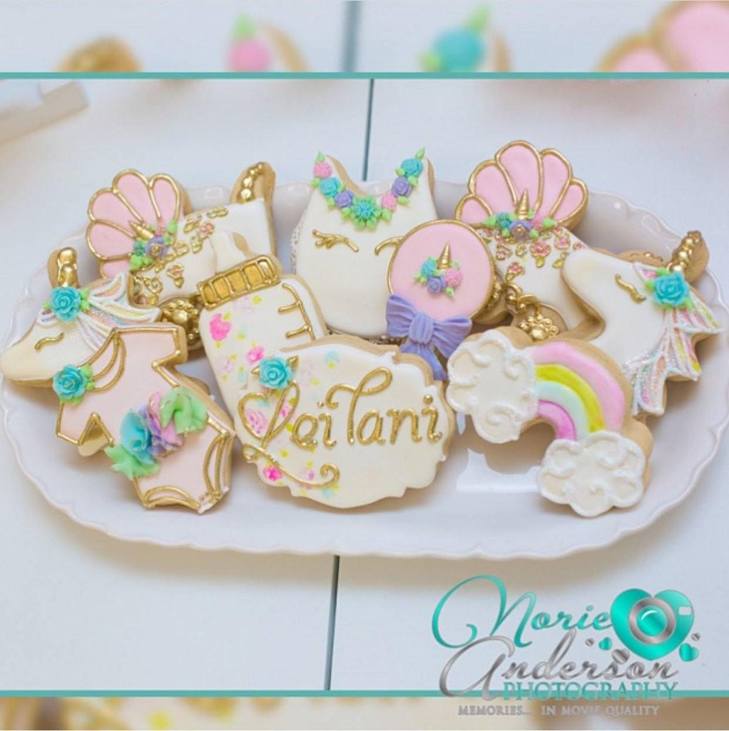 Unicorn Baby Shower Desserts Iced Sugar Cookie