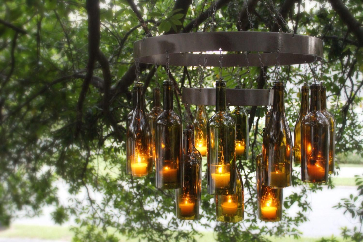Unique Chandeliers Made Out Recycled Wine Bottles