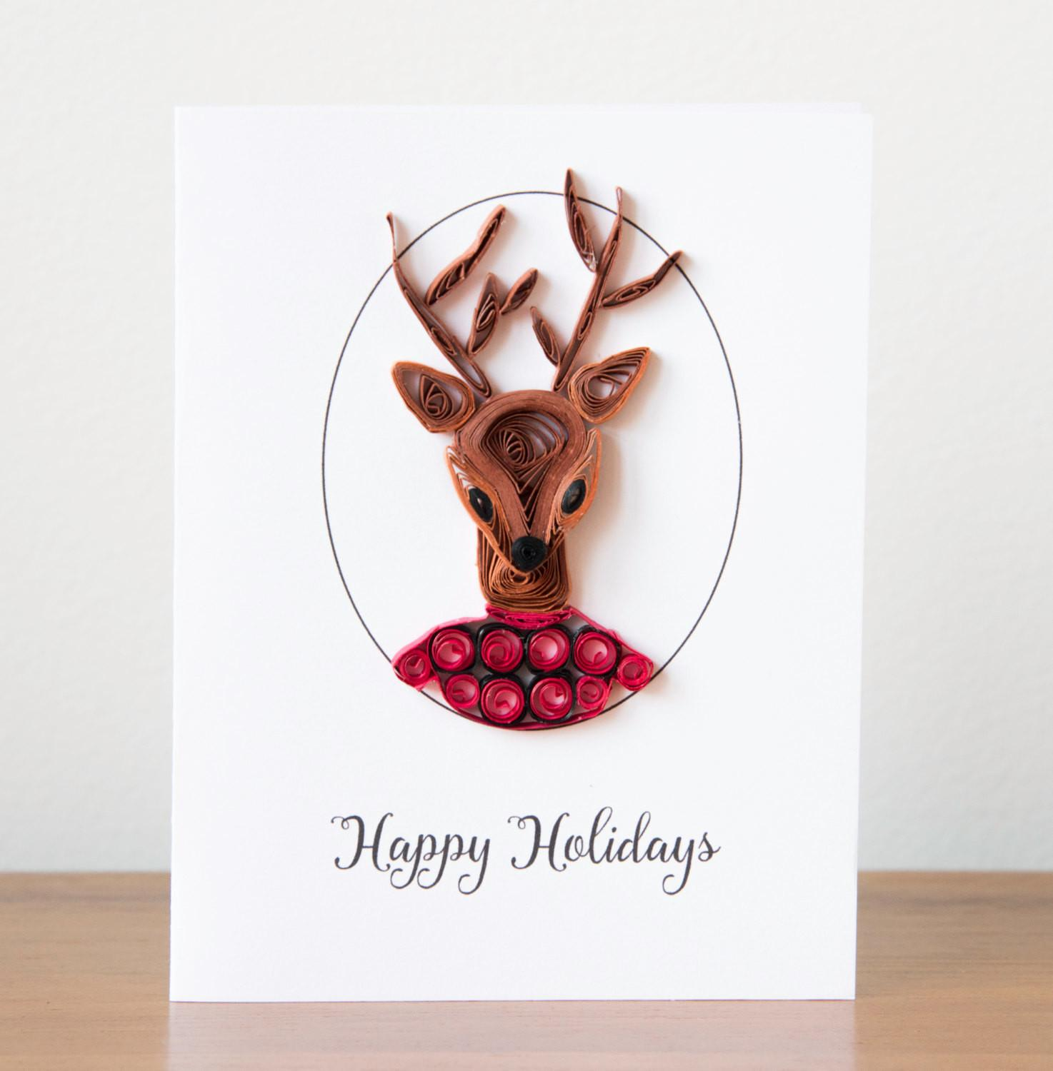 Unique Christmas Card Funny Animal Greeting Reindeer