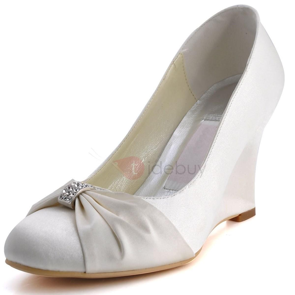 Unique Closed Toe Bow Wedge Heels Wedding Shoes Tidebuy