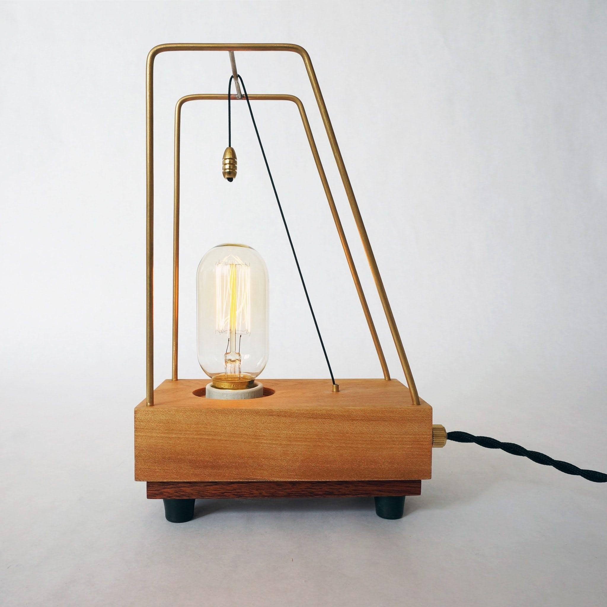 Unique Handmade Table Lamp Pull Hickory Brass