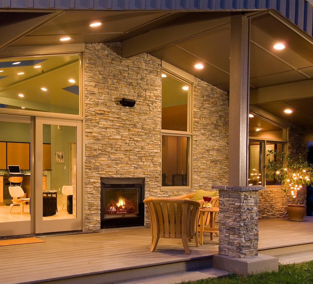 Unique Indoor Outdoor Fireplace Frames Front Porch