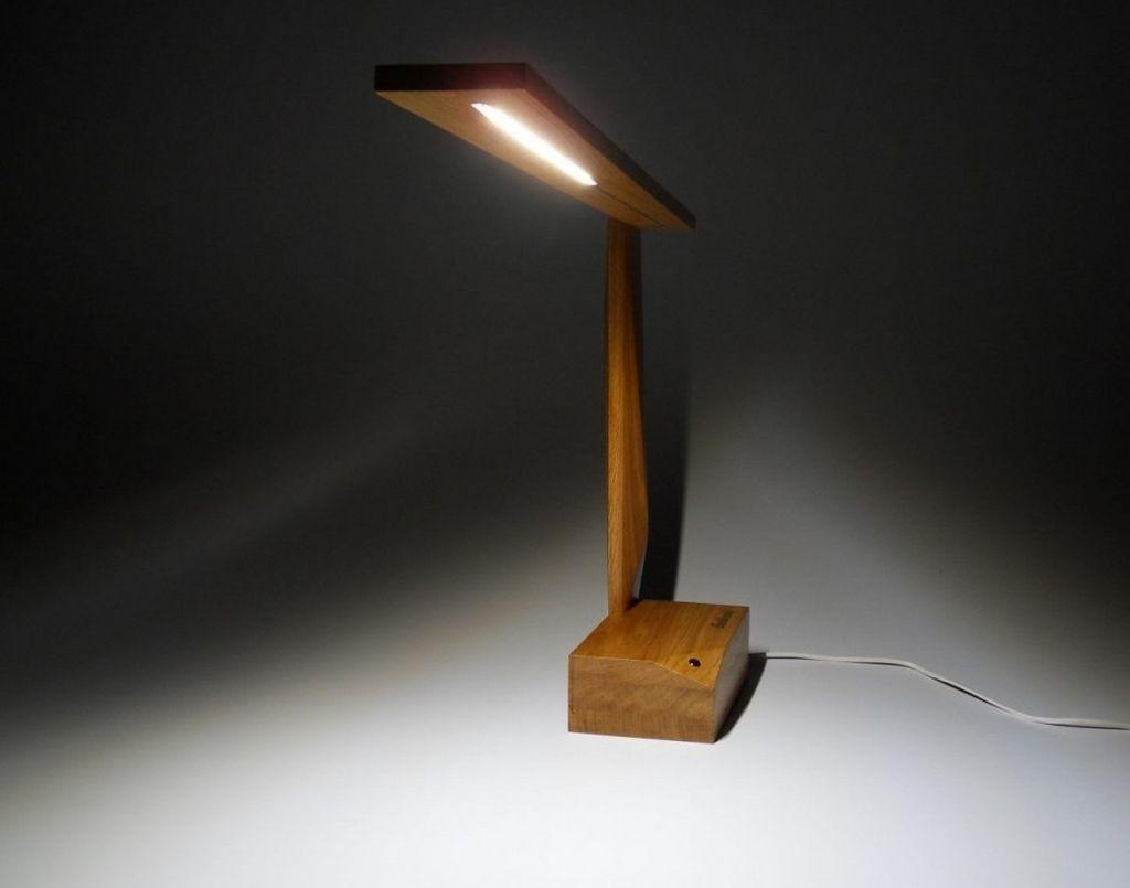 Unique Wood Led Desk Lamp Crafted Solid