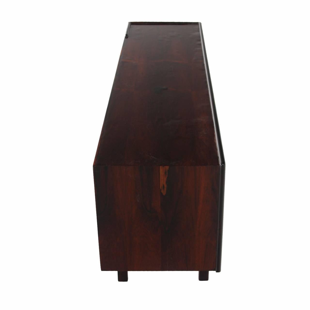 Unusual Rosewood Low Bookcase Open Credenza Drawers