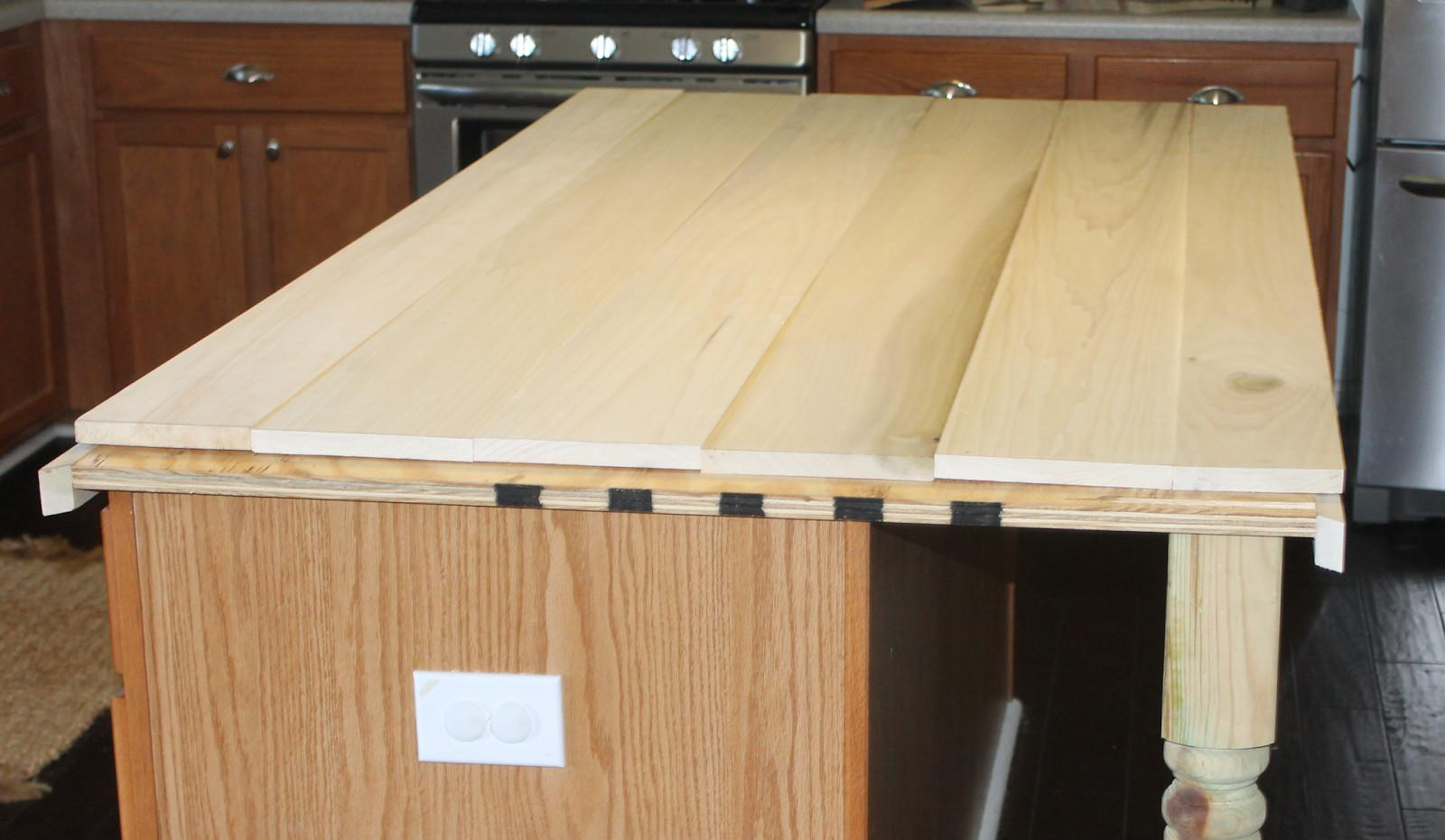 Unvarnished Reclaimed Wood Countertop Square Kitchen