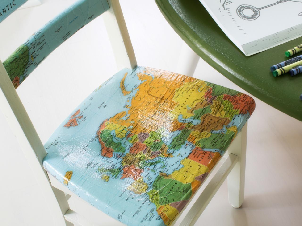 Upcycle Plain Kids Chair Decoupaged Map