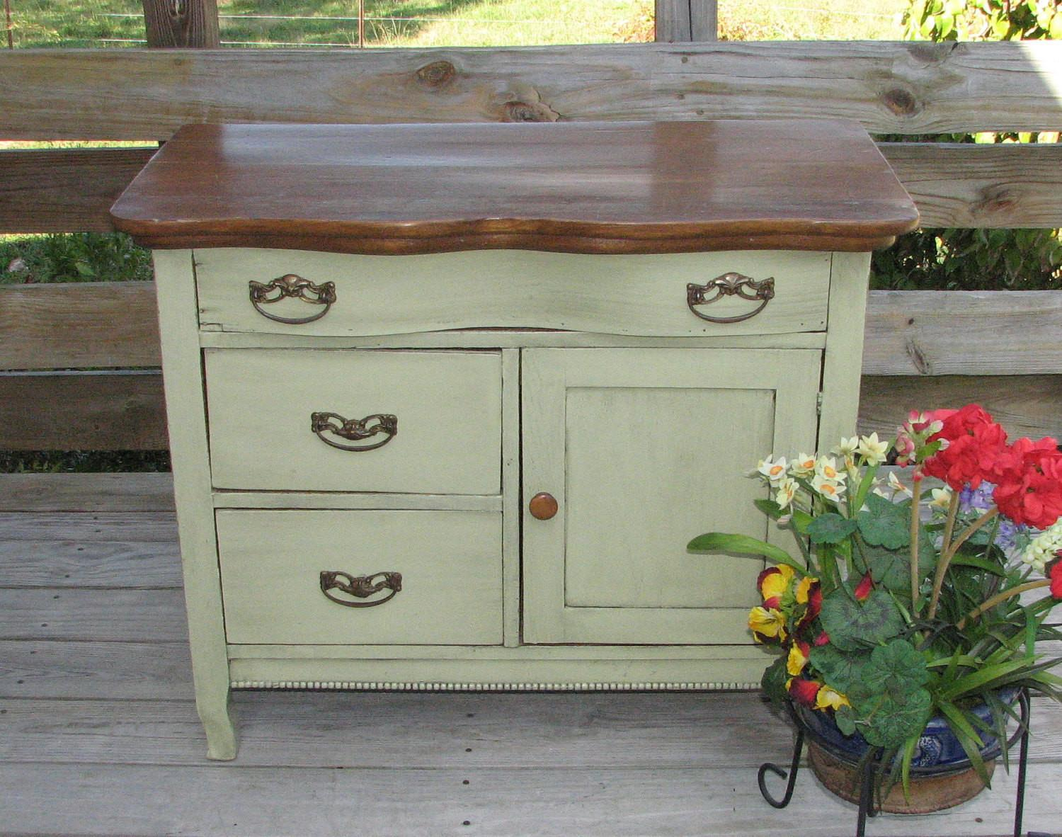 Upcycled Antique Oak Washstand Dry Sink Commode Shabby Home