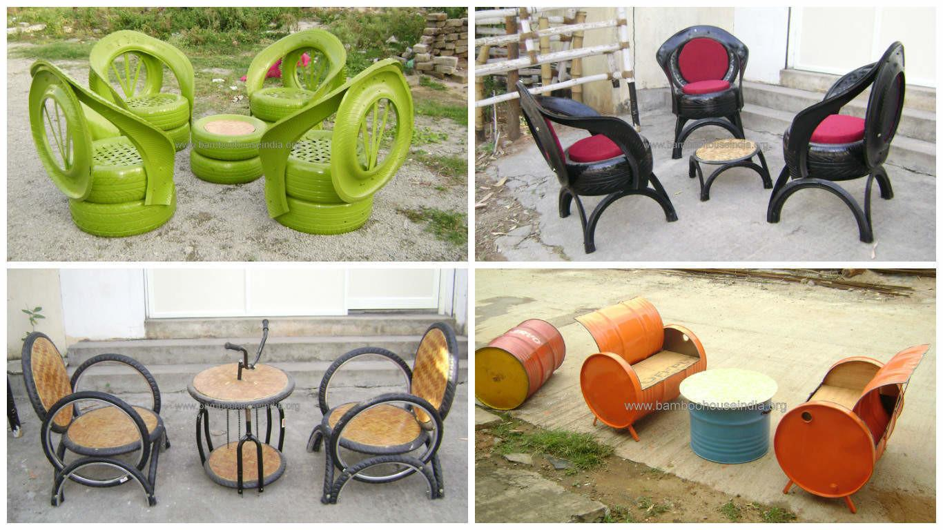 Upcycled Furniture Old Tires Oil Drums Bike Parts