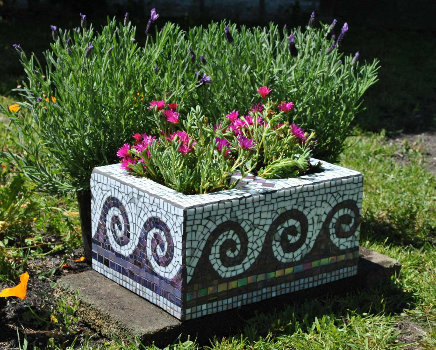 Upcycled Mosaic Cinder Block Garden Planter Purple Tile