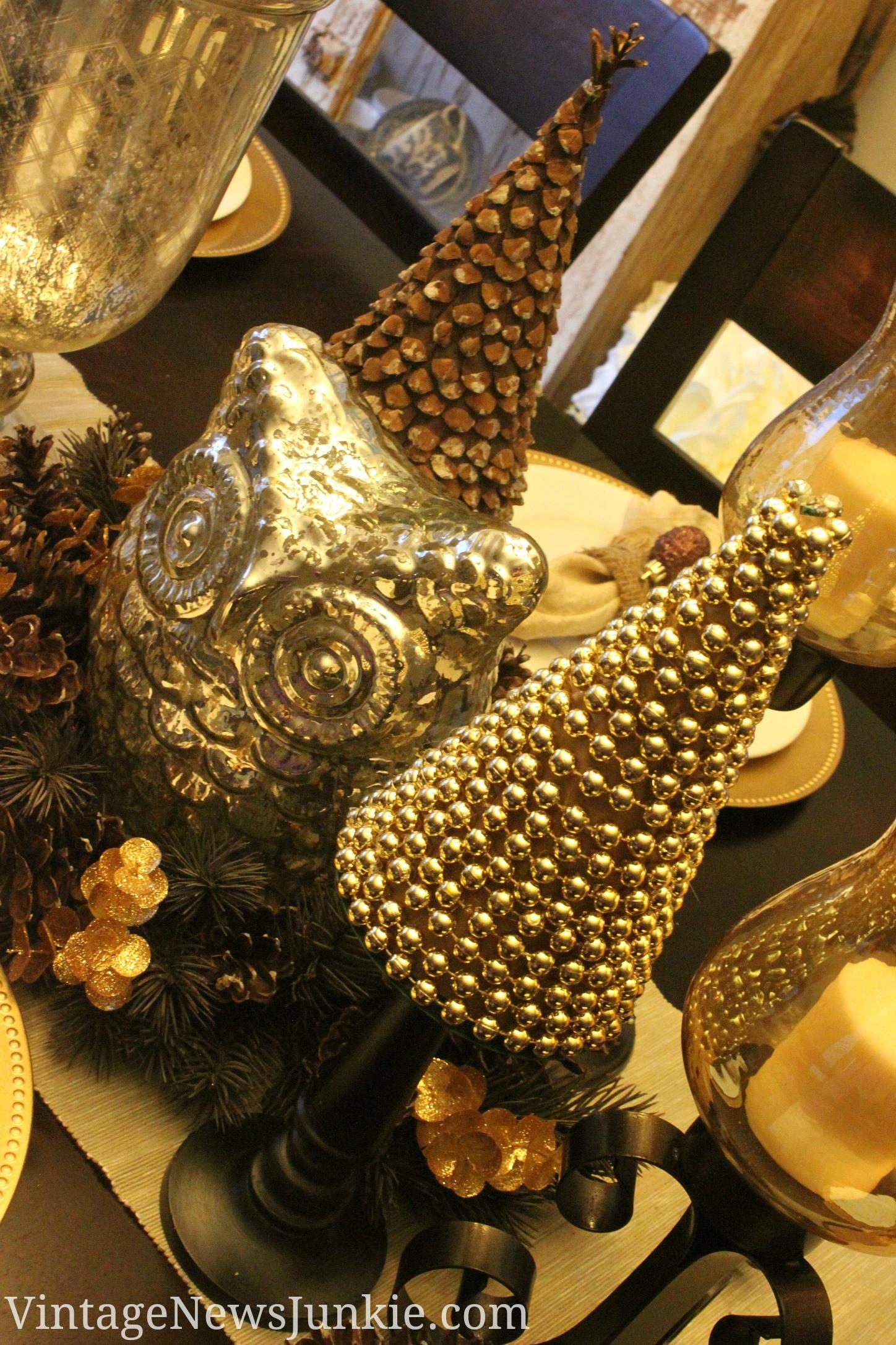 Upcycled Sparkly Christmas Tree Gold Beads Cemetery Vase