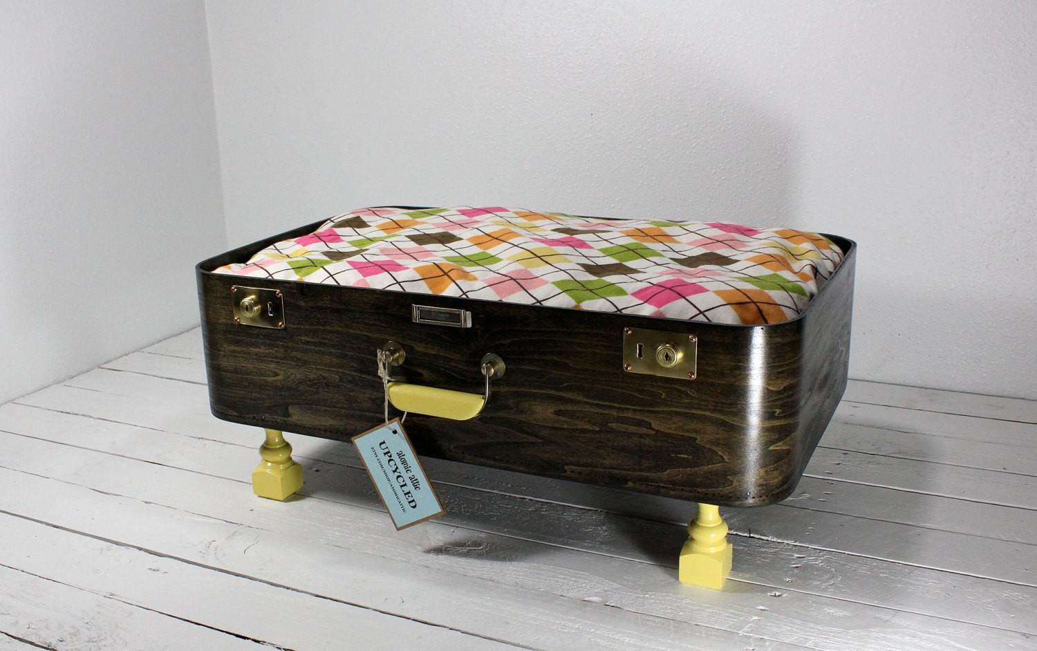 Upcycled Vintage Wooden Suitcase Pet Bed