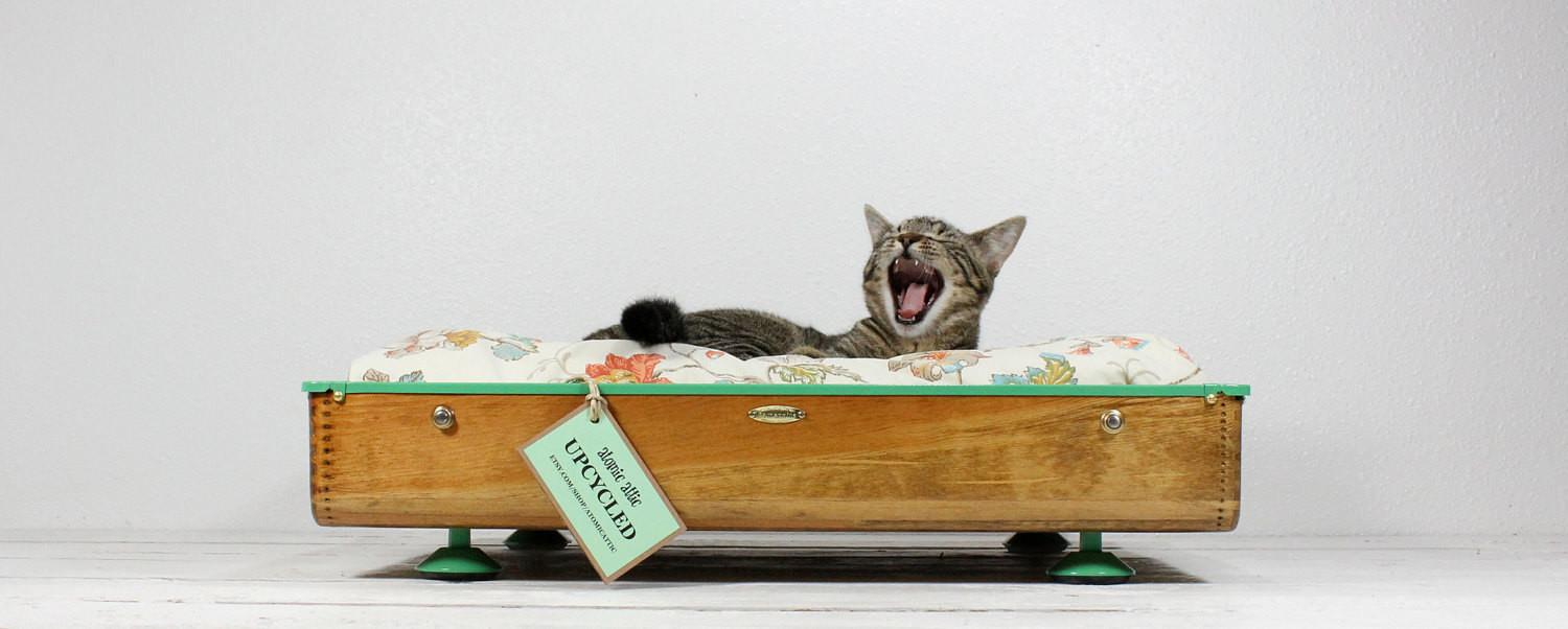 Upcycled Vintage Wooden Suitcase Pet Bed Atomicattic