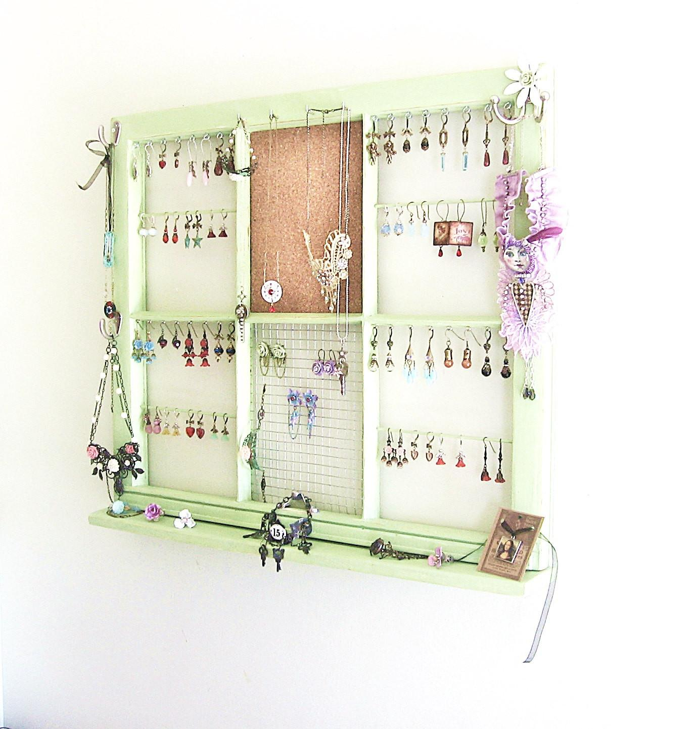 Upcycled Window Frame Green Jewelry Holder
