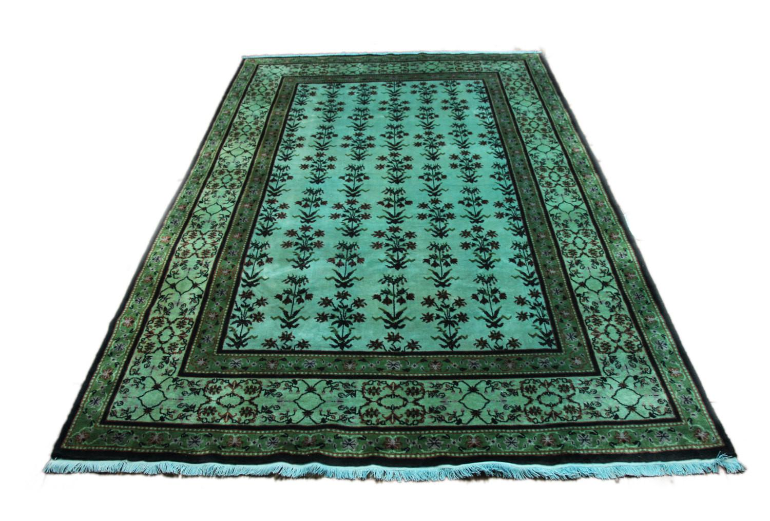 Upscale One Kind Teal Overdyed Art Deco Rug 100 Soft