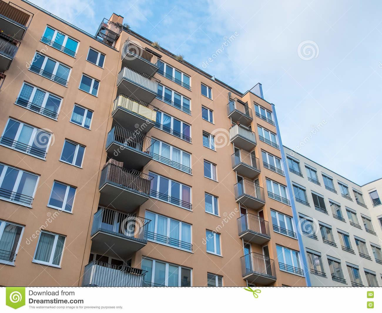 Urban Apartment Building Small Balconies Stock
