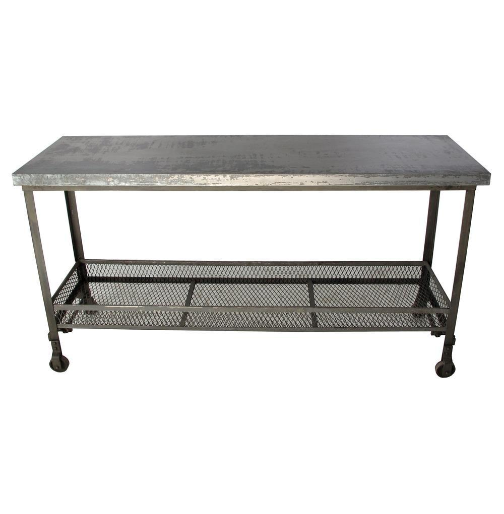 Urban Mercantile Galvanized Steel Industrial Console Table