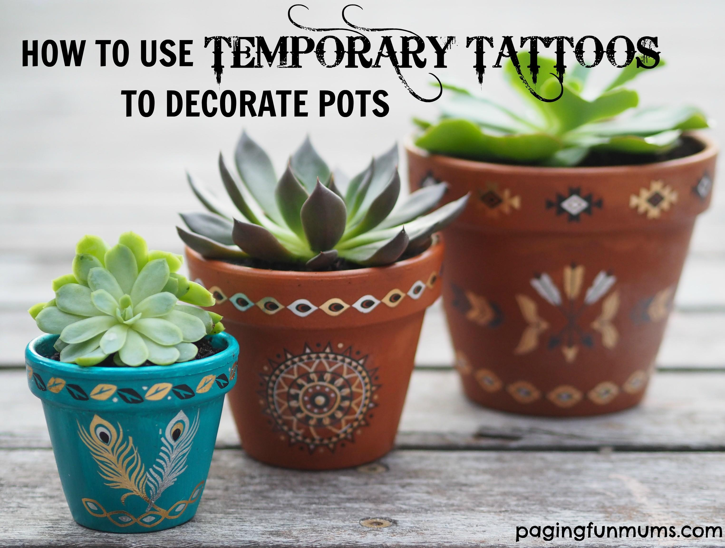 Using Temporary Tattoos Decorate Terracotta Pots