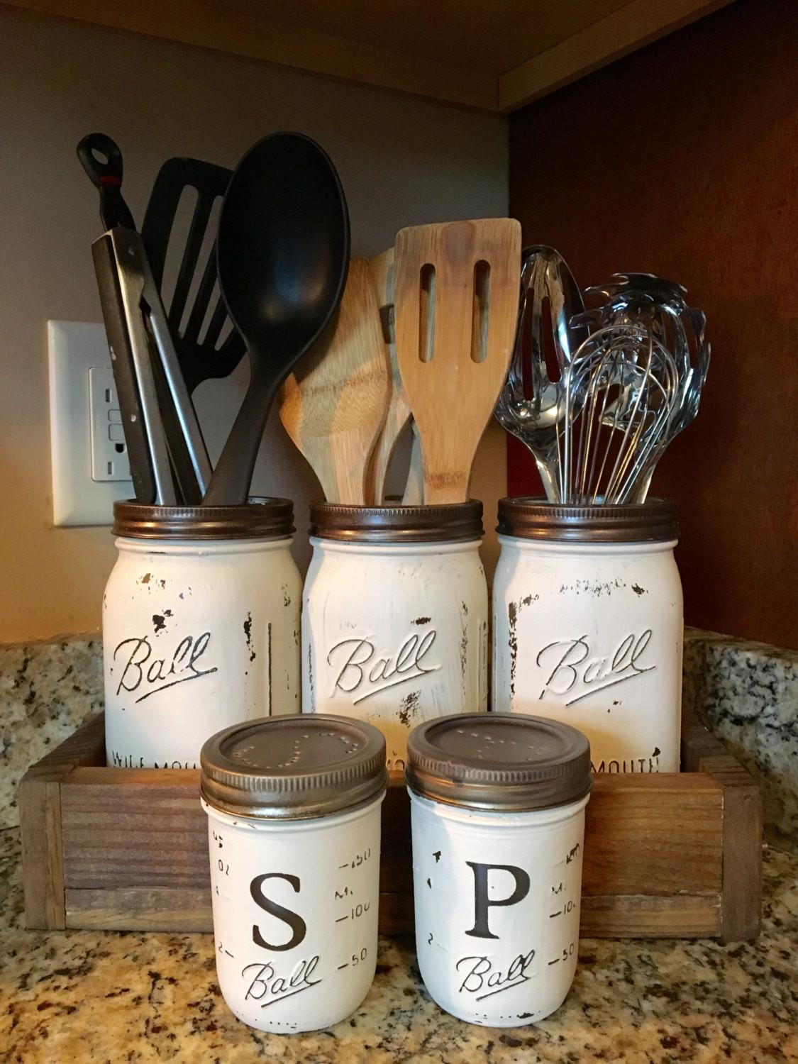 Utensil Mason Jar Holder Salt Pepper Shaker Option