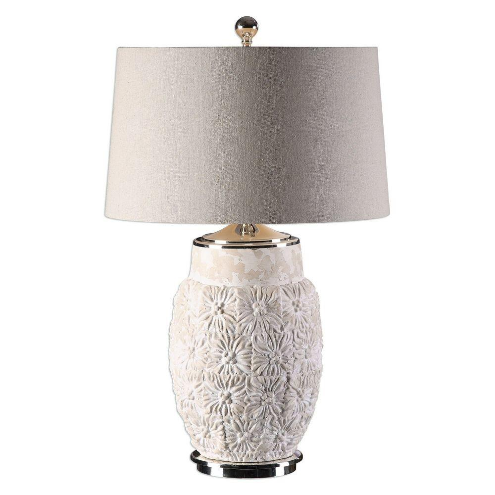 Uttermost Capron Textured White Ceramic Lamp