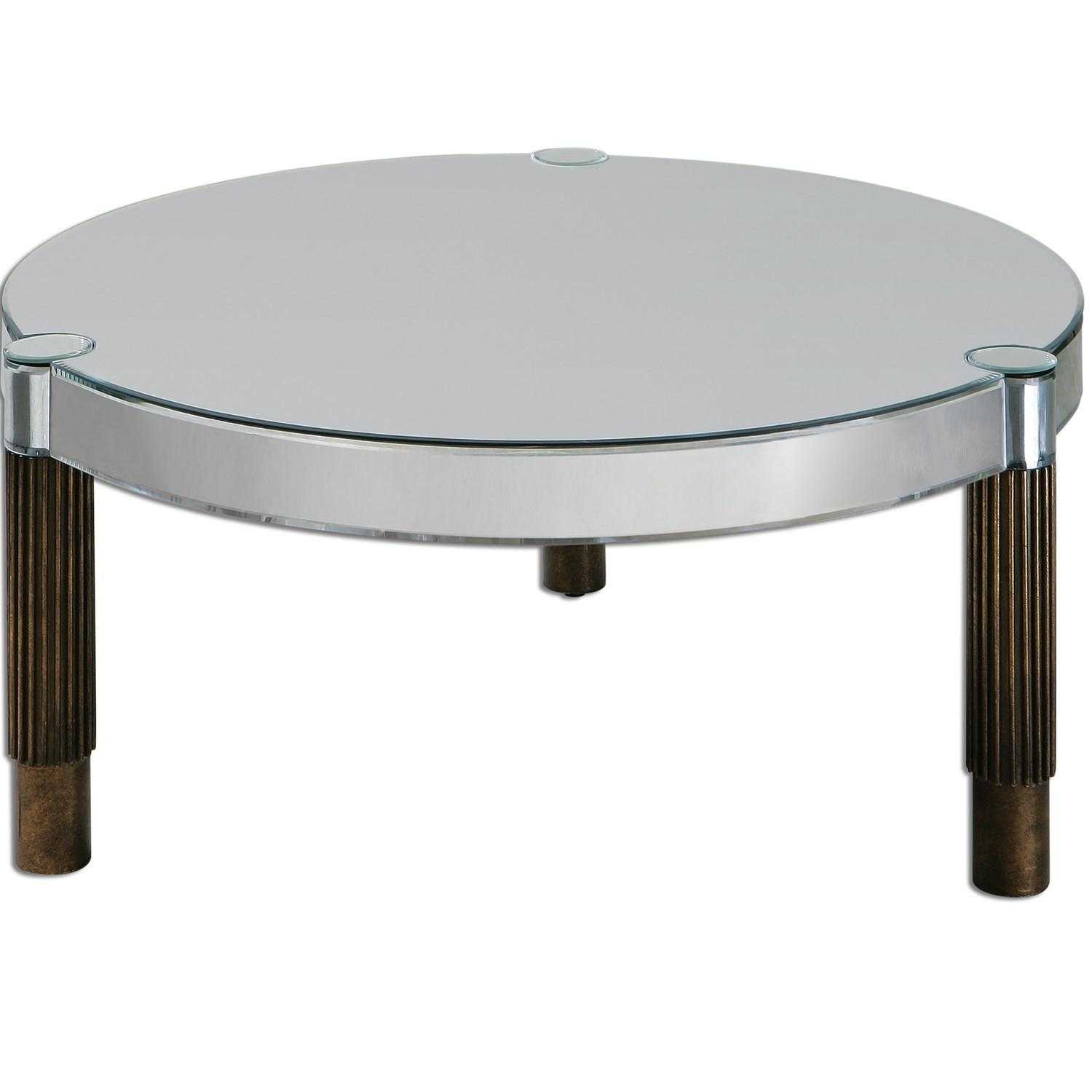 Uttermost Eleni Mirrored Coffee Table Antiqued Bronze