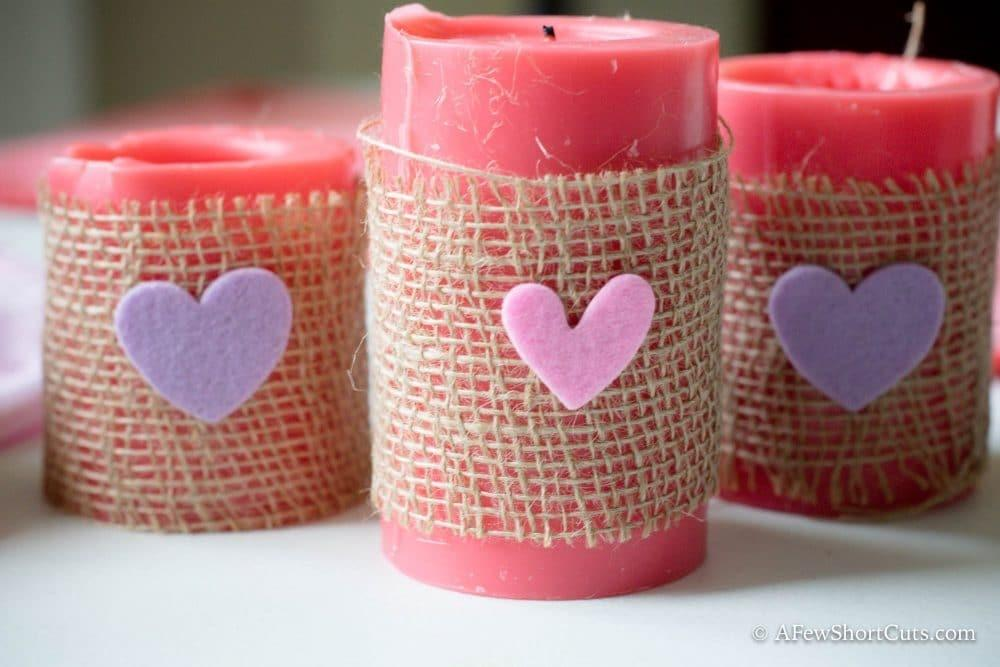Valentine Burlap Candle Holders Easy Day Diy