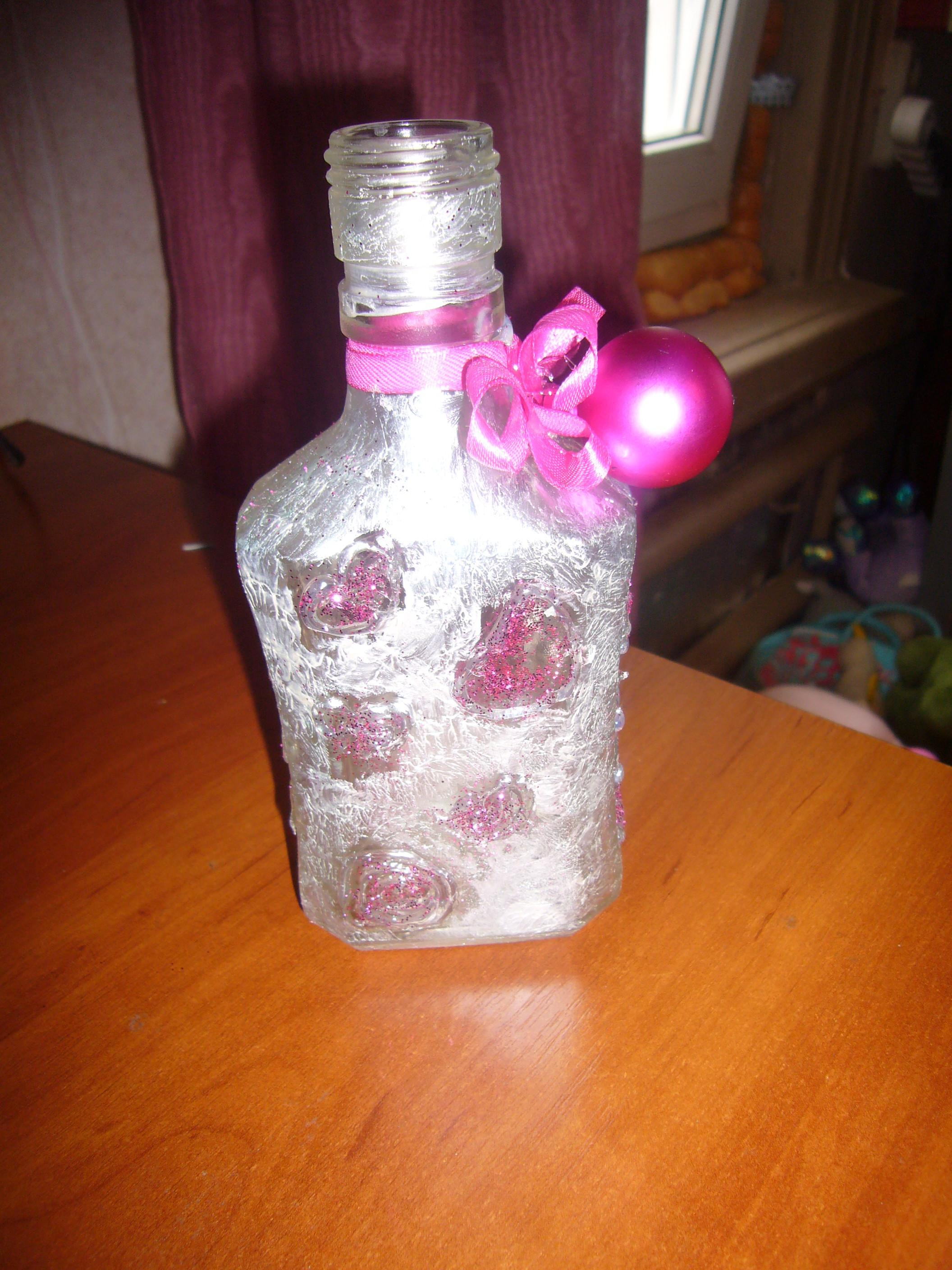 Valentine Day Crafts Decorated Glass Bottle Hearts